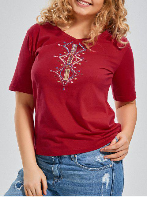 chic Embroidered V Neck Plus Size T-shirt - RED 2XL Mobile