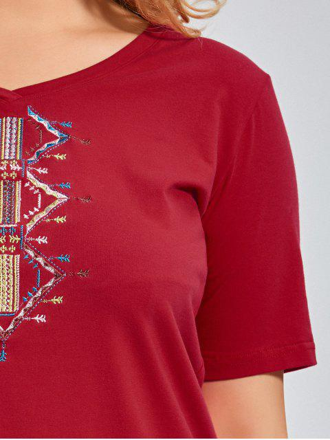 fancy Embroidered V Neck Plus Size T-shirt - RED XL Mobile