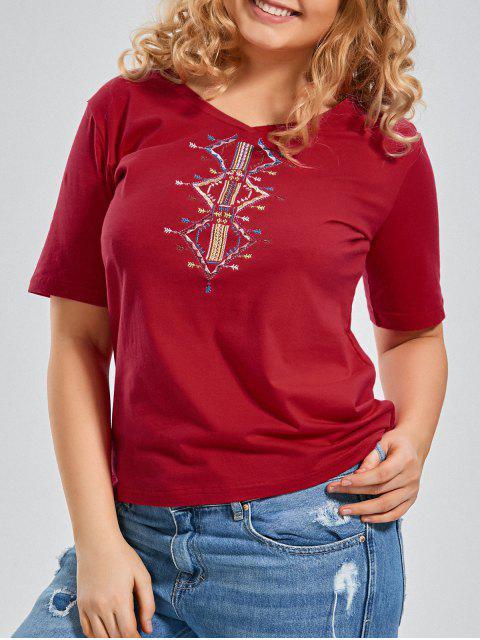 T-shirt à manches courtes brodées V Neck - Rouge XL Mobile