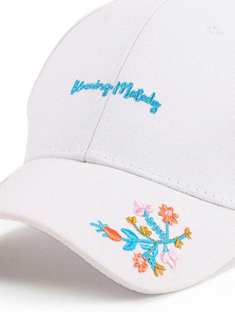 Lettres Fleurs Broderie Baseball Hat - Blanc  Mobile
