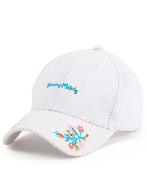 hot Letters Flowers Embroidery Baseball Hat - WHITE  Mobile