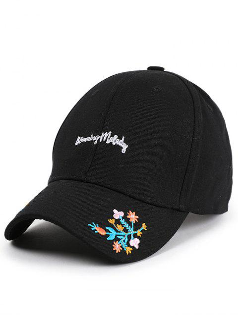 outfit Letters Flowers Embroidery Baseball Hat - BLACK  Mobile