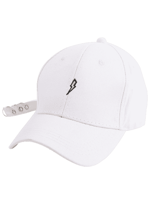 fashion Lightning Embroidery Circles Long Tail Hat - WHITE  Mobile