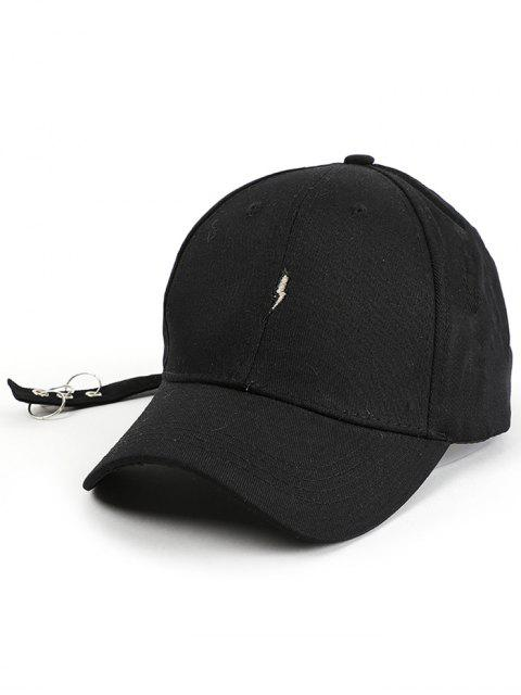 chic Lightning Embroidery Circles Long Tail Hat - BLACK  Mobile