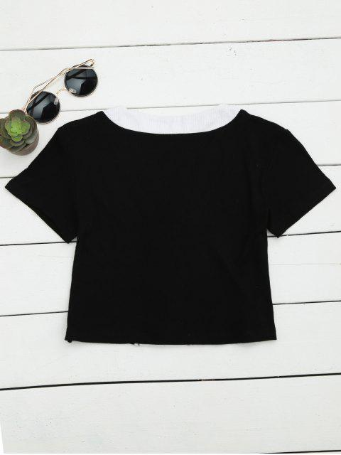women's Lace Up Contrast Knitted Crop Top - BLACK M Mobile