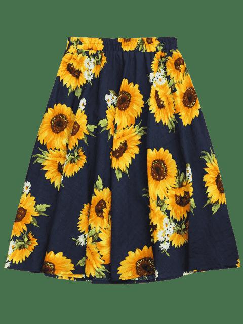 Jupe à taille haute à imprimé de tournesol - Floral TAILLE MOYENNE Mobile