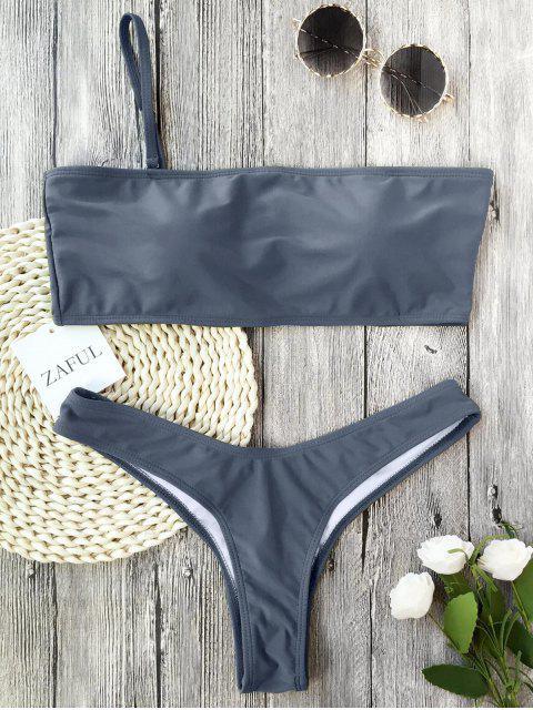 fancy Padded One Strap Bandeau Thong Bikini - GRAY S Mobile