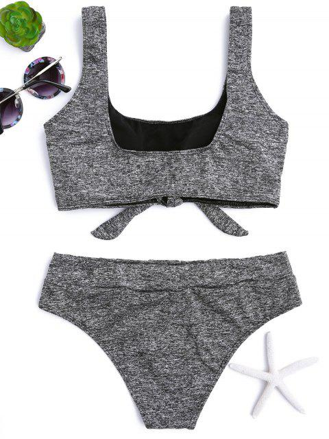 affordable Heathered Front Tied Bikini Set - GRAY S Mobile