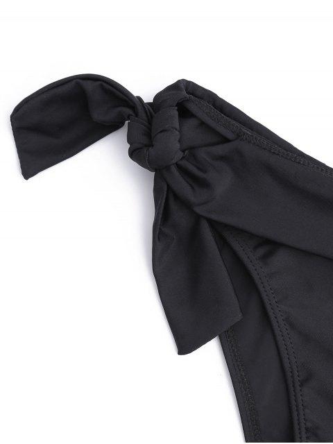 women Tied Front Zipper Molded Cup Bikini Set - BLACK L Mobile