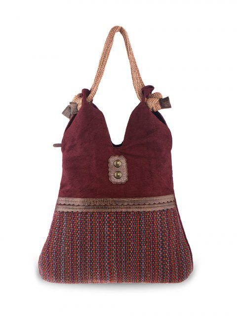 best Linen Large Boho Shoulder Bag - WINE RED  Mobile