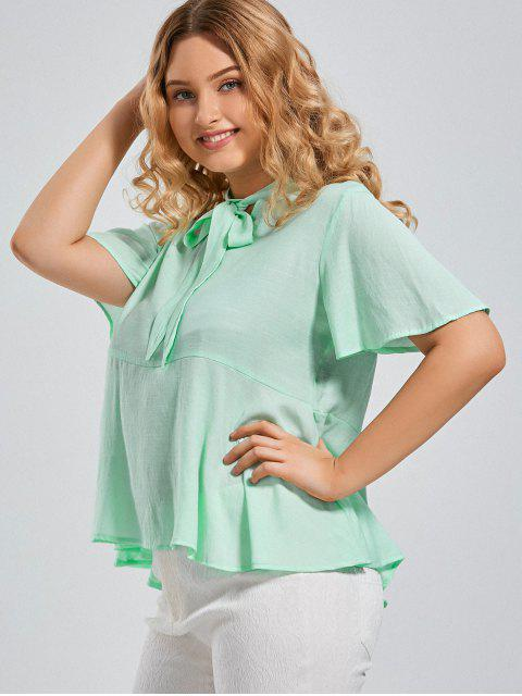 new Plus Size Tied Neck Smock Blouse - MINT XL Mobile