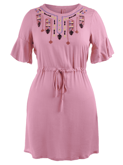 shop Plus Size Embroidered Belted Ruffles Dress - PINK 4XL Mobile