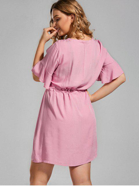 latest Plus Size Embroidered Belted Ruffles Dress - PINK 2XL Mobile