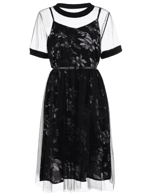 sale Plus Size Floral Dress with Outer Mesh Dress - BLACK 5XL Mobile
