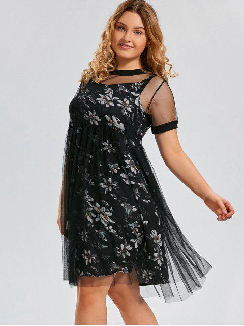 Robe florale taille professionnelle avec robe en maille extérieure - Noir 3XL Mobile