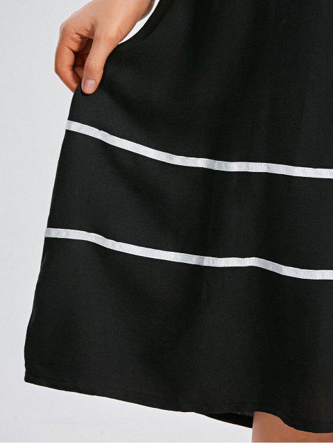 Robe mi-longue à rayures à trapèze - Noir 3XL Mobile