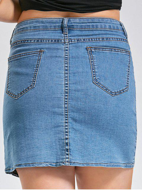 Boutons Taille Plus Rose Patch Denim Jupe - Denim Bleu 4XL Mobile