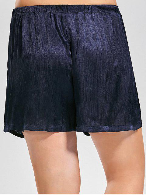online Plus Size Crushed Self Tie Shorts - CERULEAN XL Mobile
