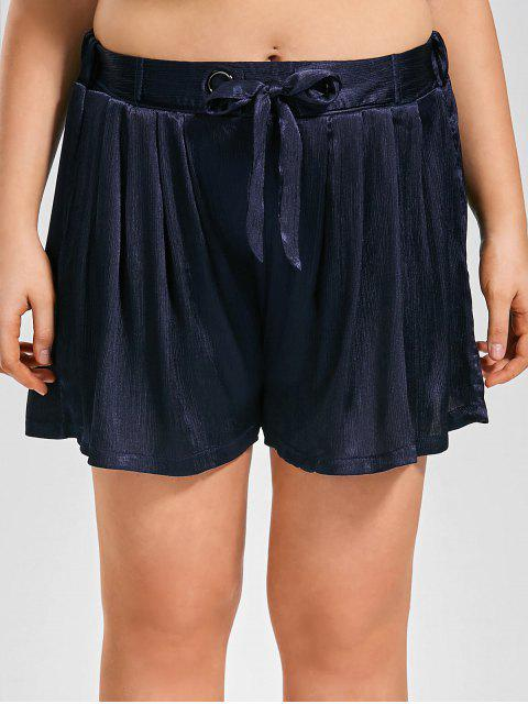 new Plus Size Crushed Self Tie Shorts - CERULEAN 2XL Mobile