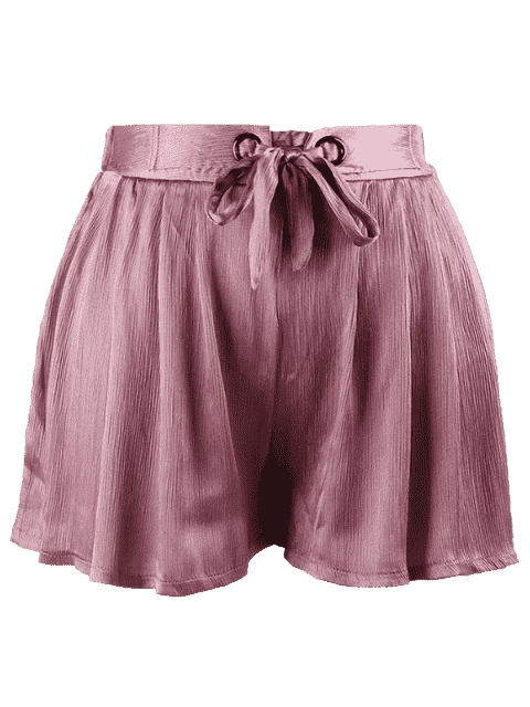 outfits Plus Size Crushed Self Tie Shorts - PINKISH PURPLE 2XL Mobile