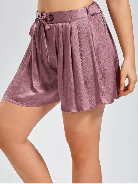 shop Plus Size Crushed Self Tie Shorts - PINKISH PURPLE XL Mobile