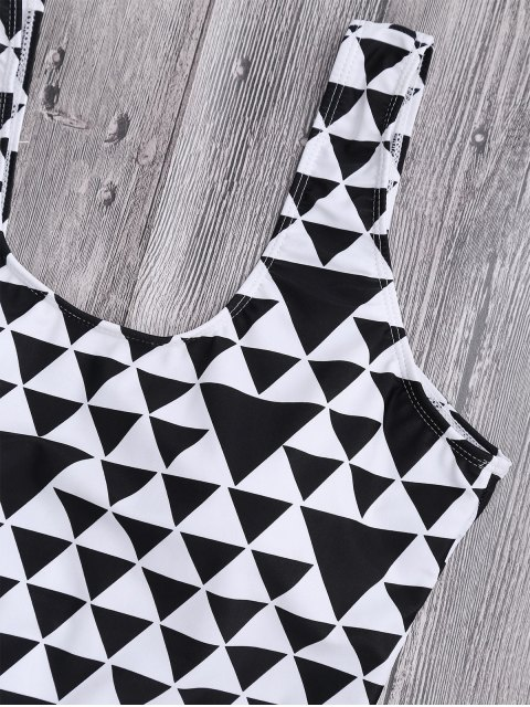 shops Geometric Pattern Scoop Plus Size Swimwear - WHITE AND BLACK 3XL Mobile