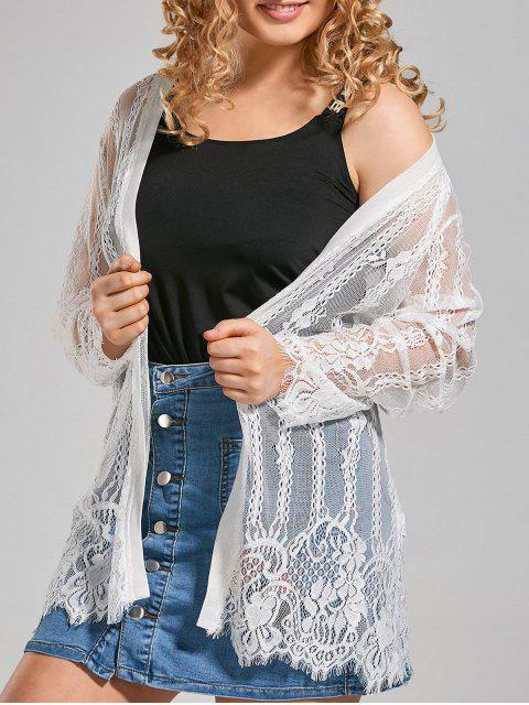 affordable Plus Size Lace Cover Up Kimono Top - WHITE 5XL Mobile