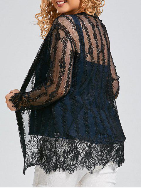 Más el tamaño de encaje cubrir kimono top - Negro 4XL Mobile