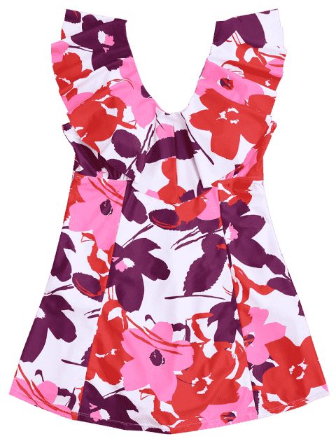 ladies Ruffles Floral Plus Size Skirted Swimwear - FLORAL 2XL Mobile