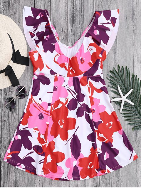 lady Ruffles Floral Plus Size Skirted Swimwear - FLORAL XL Mobile