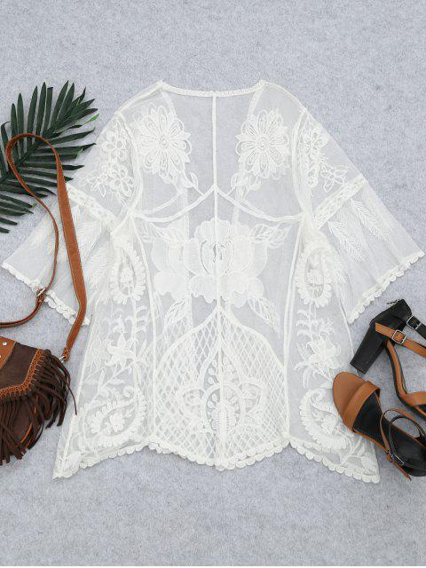 fashion Embroidered Sheer Lace Beach Kimono Cover Up - WHITE ONE SIZE Mobile
