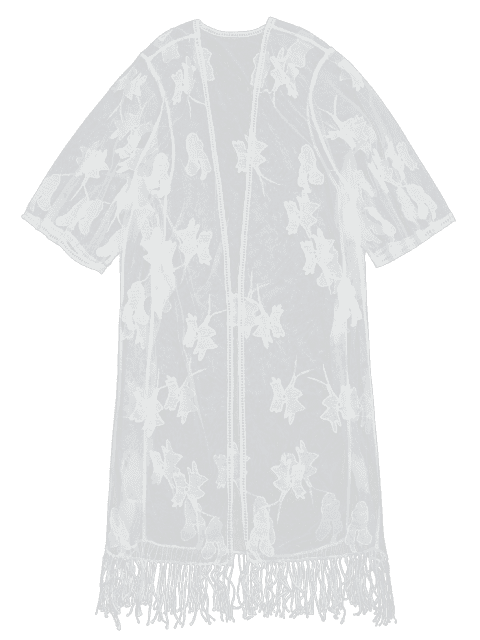fancy Sheer Lace Embroidered Beach Kimono Cover Up - WHITE ONE SIZE Mobile