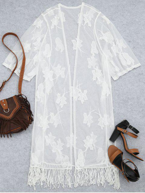 Sheer Lace bordado Kimono playa cubrir - Blanco Única Talla Mobile