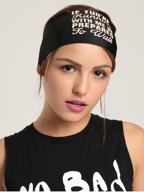 Laufen Stirnband mit Buchstaben Druck - Schwarz  Mobile