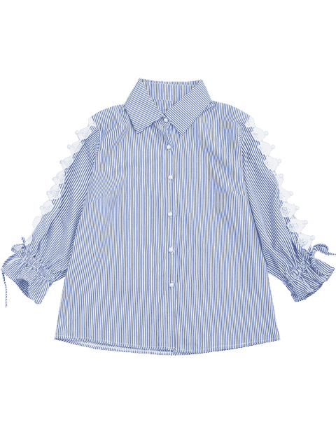 Hollow Out Beading Button Up Shirt - Rayure S Mobile