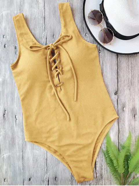 women Textured Padded Lace Up One Piece Swimsuit - GINGER L Mobile