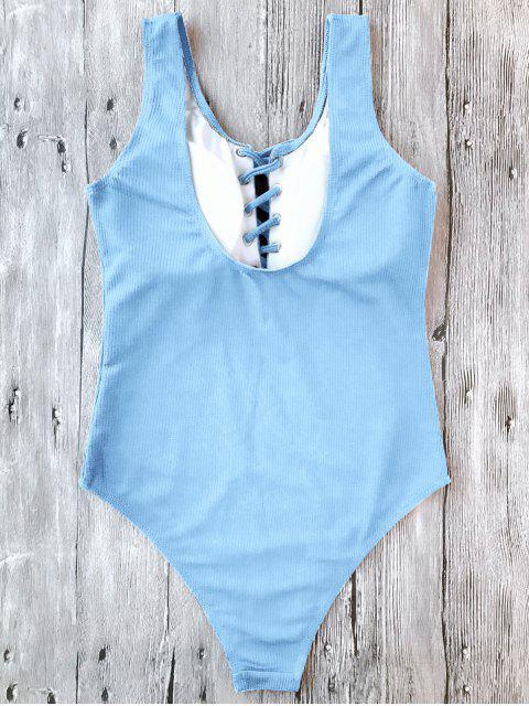 buy Textured Padded Lace Up One Piece Swimsuit - LIGHT BLUE M Mobile
