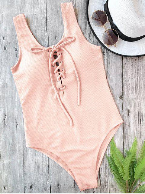 sale Textured Padded Lace Up One Piece Swimsuit - PINK S Mobile