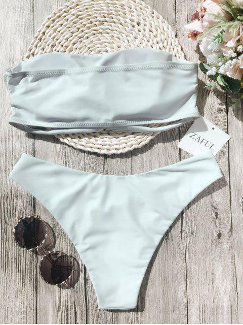 latest Knot Padded Bandeau Bikini Set - WHITE M Mobile