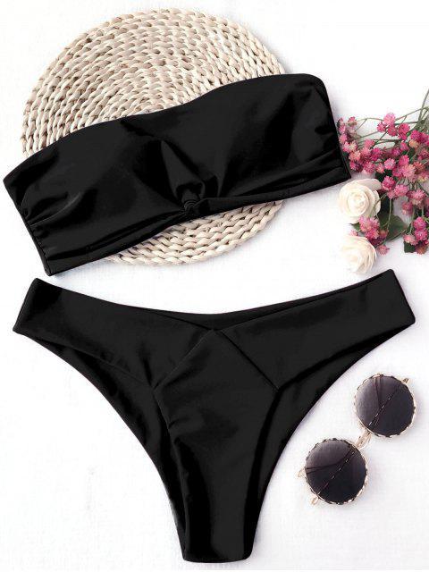 shop Knot Padded Bandeau Bikini Set - BLACK S Mobile