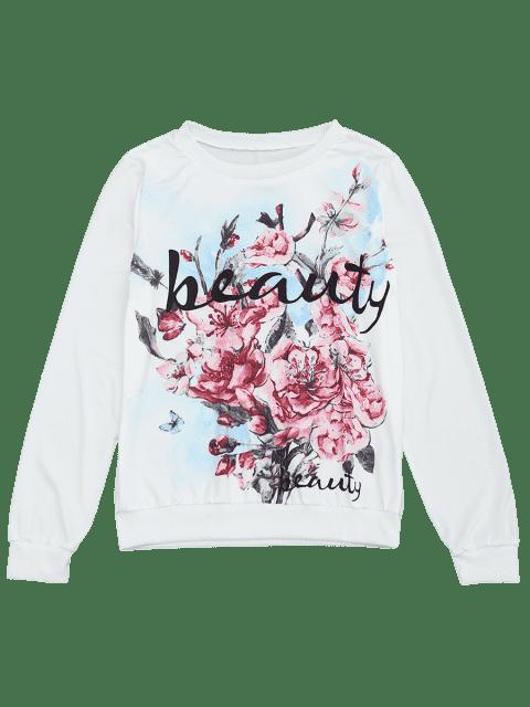 sale Floral Letter Print Long Sleeve Tee - FLORAL L Mobile