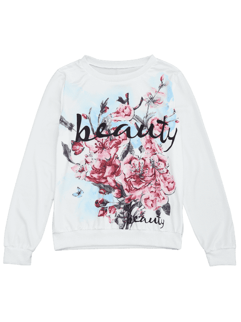 buy Floral Letter Print Long Sleeve Tee - FLORAL XL Mobile