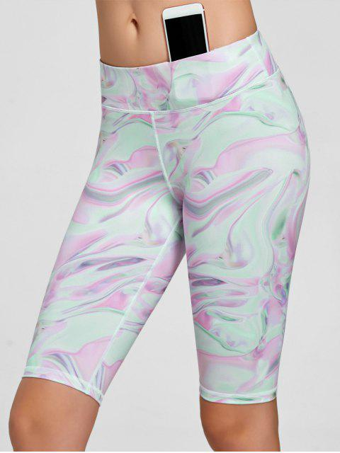 womens Fresh Pattern Running Tight Shorts - PINK XL Mobile