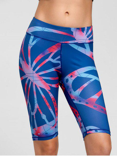 ladies Active Pattern Fitness Shorts - BLUE L Mobile