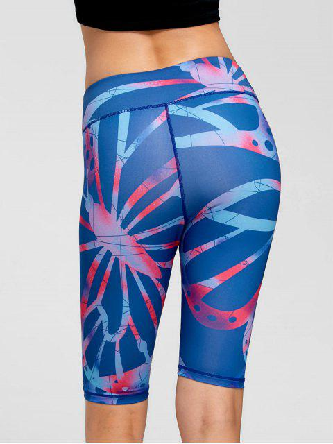 lady Active Pattern Fitness Shorts - BLUE XL Mobile
