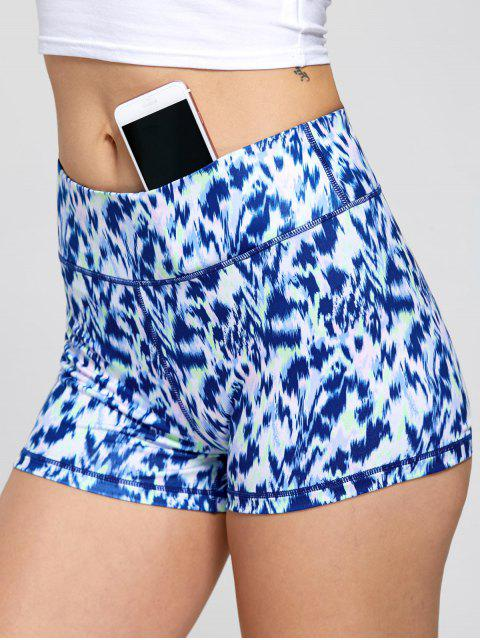 outfit Sports Tie Dye Printed Mini Shorts - BLUE S Mobile