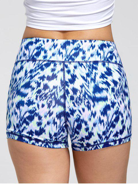shop Sports Tie Dye Printed Mini Shorts - BLUE L Mobile