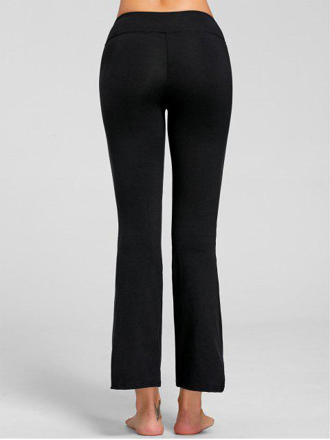hot Stretch Bootcut Yoga Pants with Pocket - BLACK M Mobile