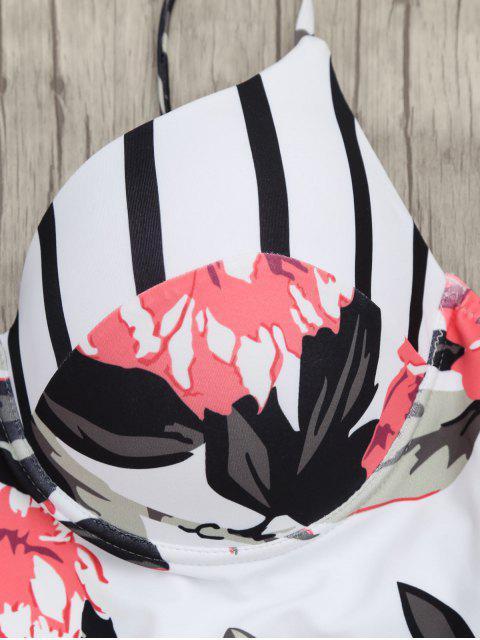 trendy Floral One Piece Underwire Swimsuit - COLORMIX 2XL Mobile