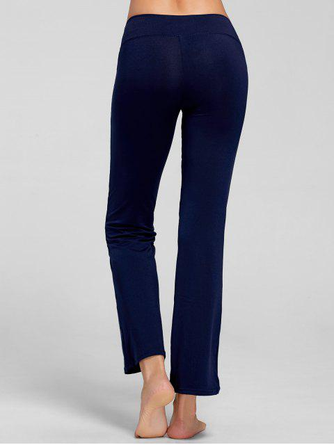 trendy Stretch Bootcut Yoga Pants with Pocket - DEEP BLUE S Mobile